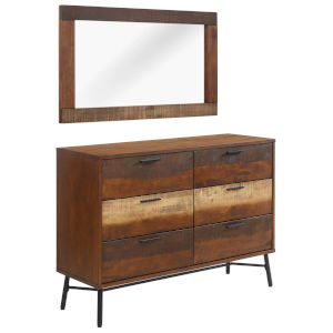Uptown Walnut 87-Inch 2 Piece Dresser with Mirror