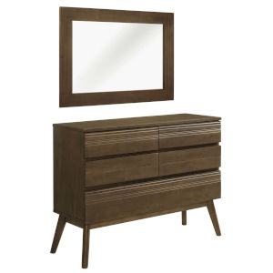 Uptown Walnut 2 Piece dresser with mirror