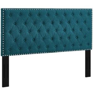 Linden Teal Tufted Full Upholstered Linen Fabric Headboard