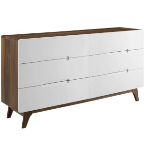 Uptown Walnut White Six-Drawer Wood Dresser