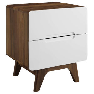 Uptown Walnut White Wood Nightstand