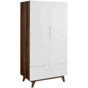 Uptown Walnut White Wood Wardrobe Cabinet