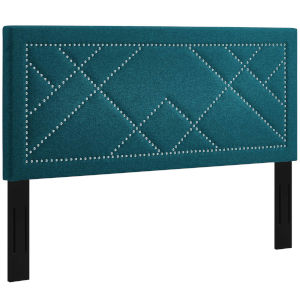Vivian Teal Nail head King and California King Upholstered Linen Fabric Headboard