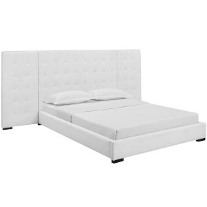 Cooper White Queen Upholstered Fabric Platform Bed