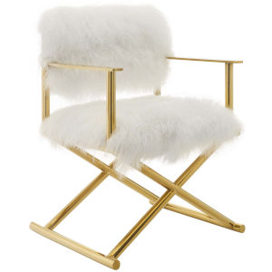 Vivian Gold White Cashmere Accent Director Chair