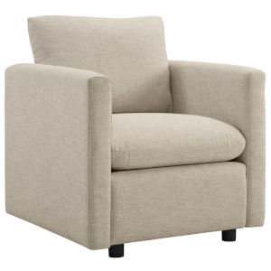 Selby Beige Upholstered Fabric Armchair