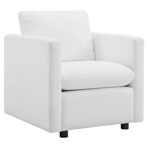 Selby White Upholstered Fabric Armchair