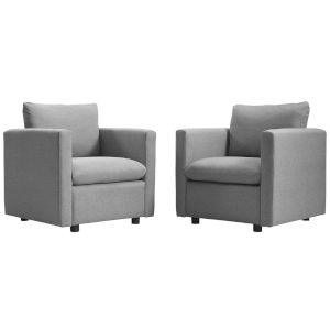 Selby Light Gray Upholstered Fabric Armchair, Set of Two