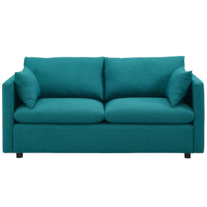 Selby Teal Upholstered Fabric Sofa