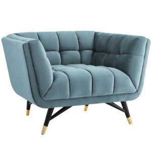 Cooper Sea Blue Performance Velvet Armchair