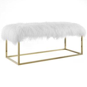 Vivian Gold White Sheepskin Bench