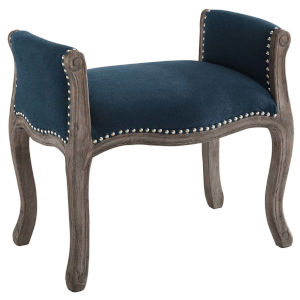Evelyn Navy Vintage French Upholstered Fabric Bench