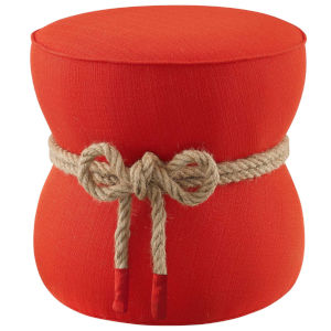 Quinn Atomic Red Nautical Rope Upholstered Fabric Ottoman