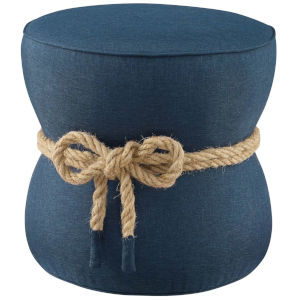 Quinn Blue Nautical Rope Upholstered Fabric Ottoman