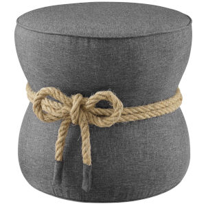 Quinn Gray Nautical Rope Upholstered Fabric Ottoman