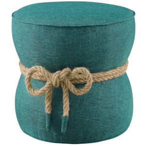 Quinn Teal Nautical Rope Upholstered Fabric Ottoman