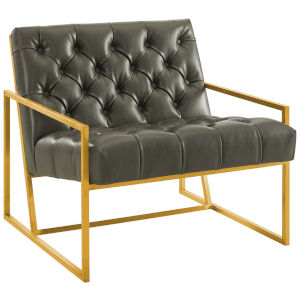 Cooper Gray Antique Gold Stainless Steel Faux Leather Accent Chair