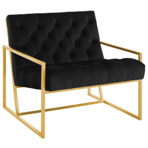 Cooper Black Gold Stainless Steel Performance Velvet Accent Chair