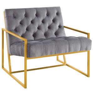 Cooper Gray Gold Stainless Steel Performance Velvet Accent Chair