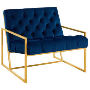 Cooper Navy Gold Stainless Steel Performance Velvet Accent Chair