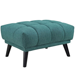 Cooper Teal Upholstered Fabric Ottoman
