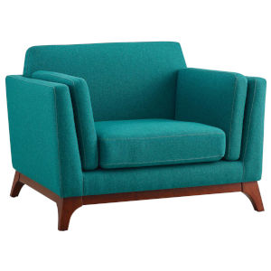 Nicollet Teal 30-Inch Upholstered Fabric Armchair