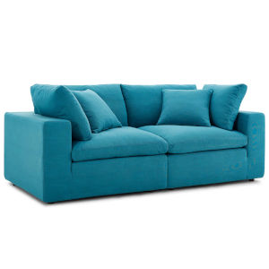 Selby Teal Down Filled Overstuffed Two-Piece Sectional Sofa Set