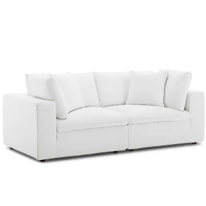 Selby White Down Filled Overstuffed Two-Piece Sectional Sofa Set