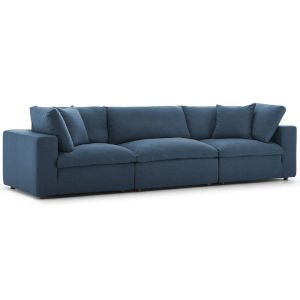 Selby Azure Down Filled Overstuffed Three-Piece Sectional Sofa Set