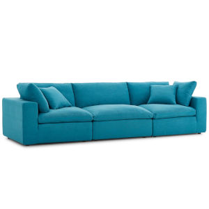 Selby Teal Down Filled Overstuffed Three-Piece Sectional Sofa Set