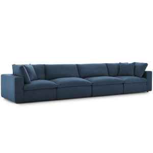 Selby Azure Down Filled Overstuffed Four-Piece Sectional Sofa Set