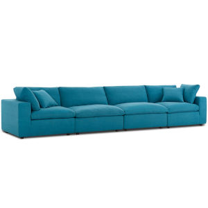 Selby Teal Down Filled Overstuffed Four-Piece Sectional Sofa Set