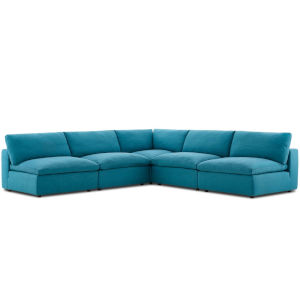 Selby Teal Down Filled Overstuffed Five-Piece L-Shaped Sectional