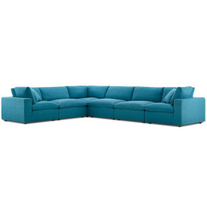 Selby Teal Down Filled Overstuffed Six-Piece L-Shaped Sectional