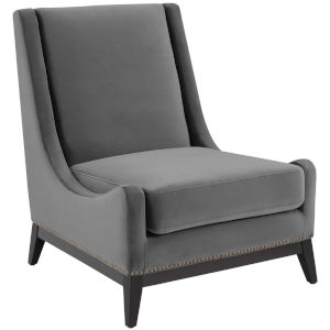 Cooper Gray Accent Upholstered Performance Velvet Lounge Chair