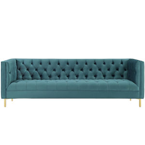 Vivian Sea Tufted Button Performance Velvet Sofa