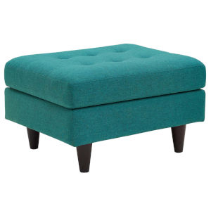 Whittier Teal Upholstered Fabric Ottoman