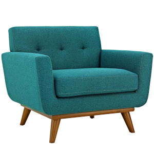 Nicollet Teal 40-Inch Upholstered Fabric Armchair