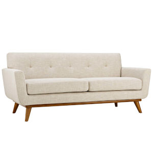 Nicollet Beige 78-Inch Upholstered Fabric Loveseat