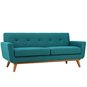 Nicollet Teal 78-Inch Upholstered Fabric Loveseat