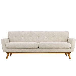 Nicollet Beige 91-Inch Upholstered Fabric Sofa