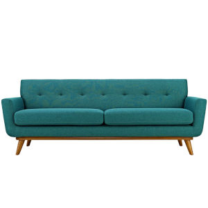 Nicollet Teal 91-Inch Upholstered Fabric Sofa