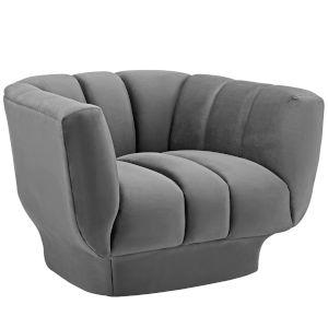 Cooper Gray Vertical Channel Tufted Performance Velvet Armchair