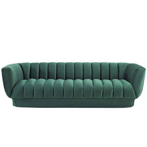 Cooper Green Vertical Channel Tufted Performance Velvet Sofa