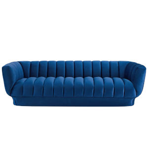 Cooper Navy 89-Inch Vertical Channel Tufted Performance Velvet Sofa