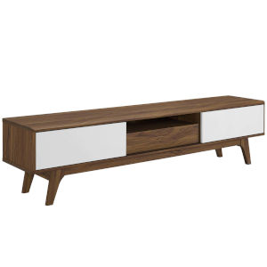 Uptown Walnut White 70-Inch Media Console Wood TV Stand