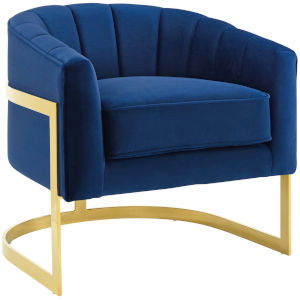 Cooper Navy Vertical Channel Tufted Performance Velvet Accent Armchair