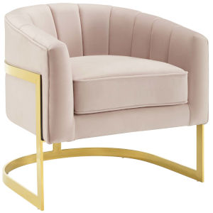 Cooper Pink Vertical Channel Tufted Performance Velvet Accent Armchair