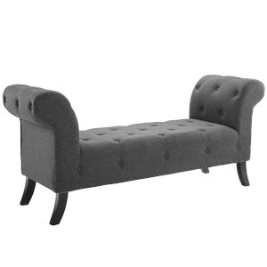 Vivian Gray Button Tufted Accent Upholstered Fabric Bench
