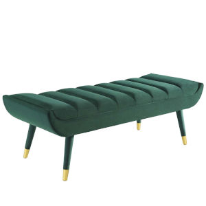 Cooper Green Channel Tufted Performance Velvet Accent Bench